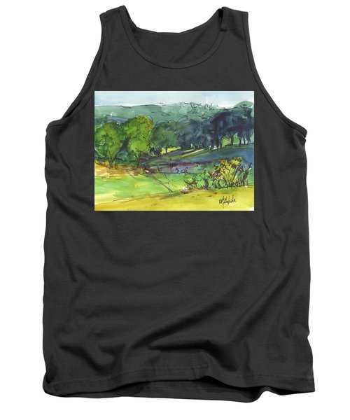 Landscape Lakeway Texas Watercolor Painting By Kmcelwaine Tank Top