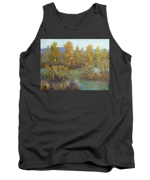 Landscape River And Trees Paintings Tank Top