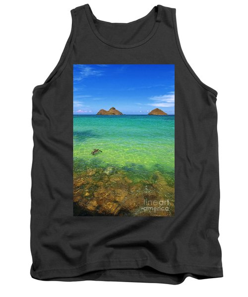 Tank Top featuring the photograph Lanikai Beach Sea Turtle by Aloha Art