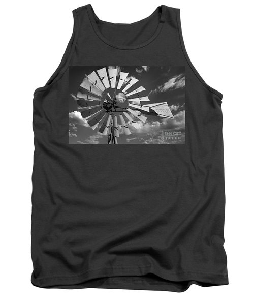 Large Windmill In Black And White Tank Top