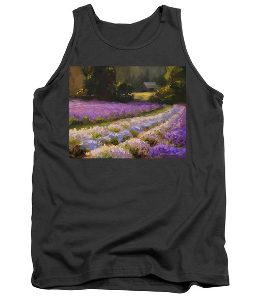 Lavender Farm Landscape Painting - Barn And Field At Sunset Impressionism  Tank Top