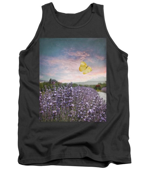 Lavender Field Pink And Blue Sunset And Yellow Butterfly Tank Top by Brooke T Ryan