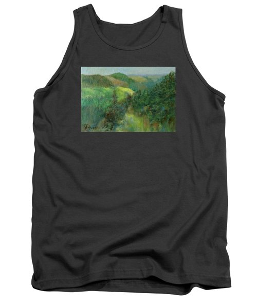 Layers Of Mountain Ranges Colorful Original Landscape Oil Painting Tank Top by Elizabeth Sawyer