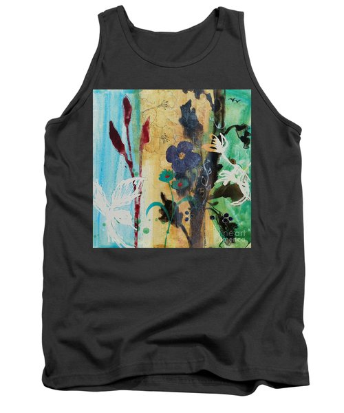 Tank Top featuring the painting Leaf Flower Berry by Robin Maria Pedrero