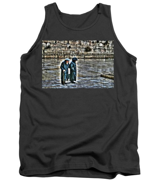 Tank Top featuring the photograph Leaving The Western Wall In Israel by Doc Braham