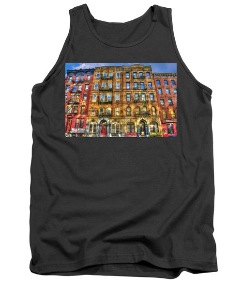 Led Zeppelin Physical Graffiti Building In Color Tank Top by Randy Aveille