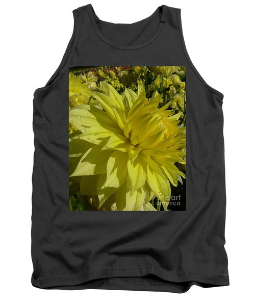 Tank Top featuring the photograph Lemon Yellow Dahlia  by Susan Garren