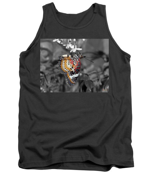 Tank Top featuring the photograph Leopard Lacewing Butterfly Dthu619bw by Gerry Gantt
