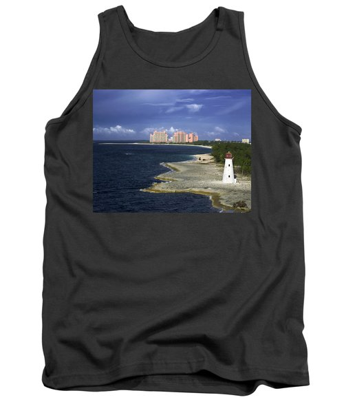 Lighthouse On Colonial Beach With Atlantis Paradise Resort Bahamas Tank Top