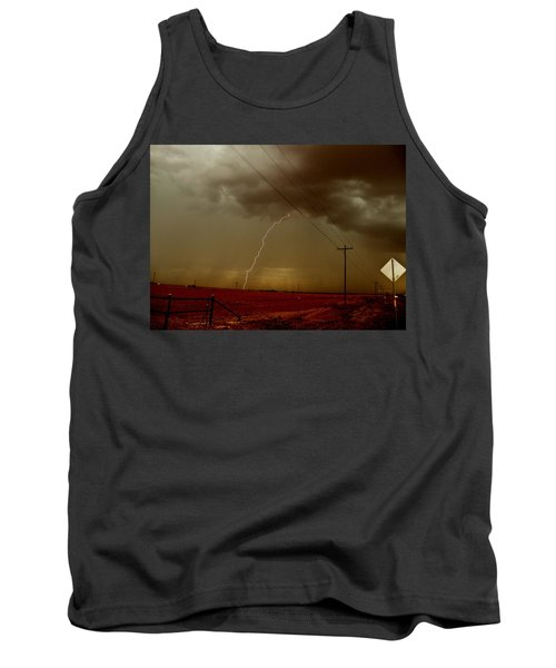Lightning Strike In Oil Country Tank Top by Ed Sweeney