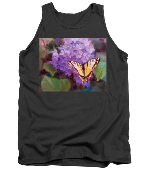 Lilacs And Swallowtail Butterfly Purple Flowers Garden Decor Painting  Tank Top
