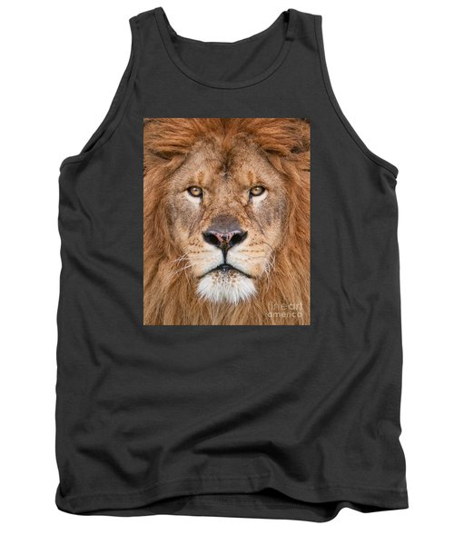 Tank Top featuring the photograph Lion Close Up by Jerry Fornarotto