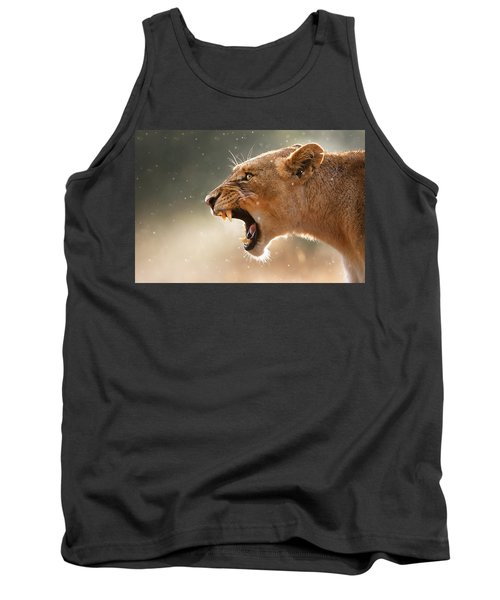 Lioness Displaying Dangerous Teeth In A Rainstorm Tank Top