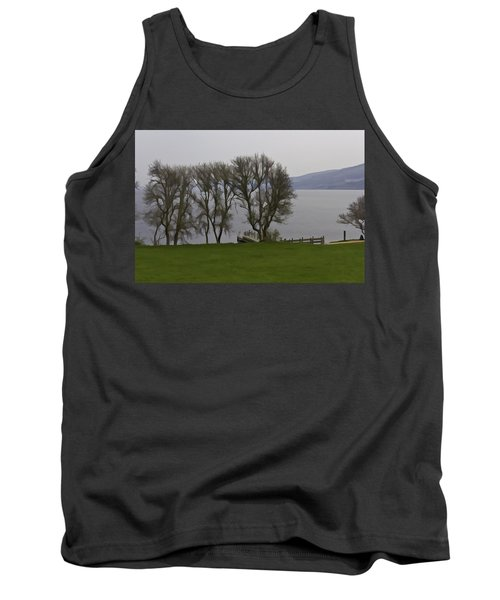 Loch Ness And Boat Jetty Next To Urquhart Castle Tank Top