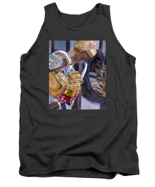 Tank Top featuring the painting Locks Of Luck by Lynne Reichhart