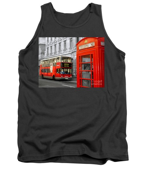 Tank Top featuring the photograph London With A Touch Of Colour by Nina Ficur Feenan