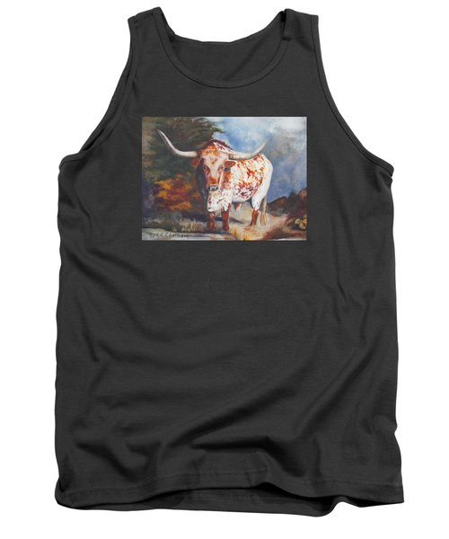 Tank Top featuring the painting Lone Star Longhorn by Karen Kennedy Chatham