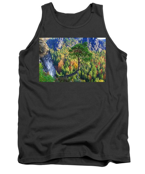 Lonely Tree In The Elbe Sandstone Mountains Tank Top