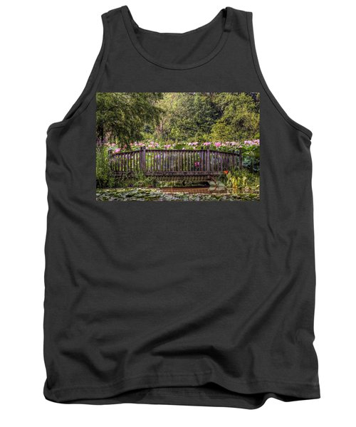 Tank Top featuring the photograph Lotus Garden Pond And Bridge by Jerry Gammon