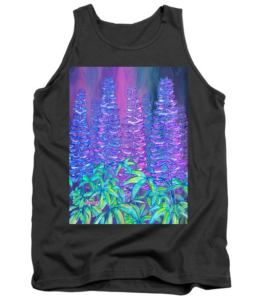 Tank Top featuring the mixed media Lupines by Teresa Ascone