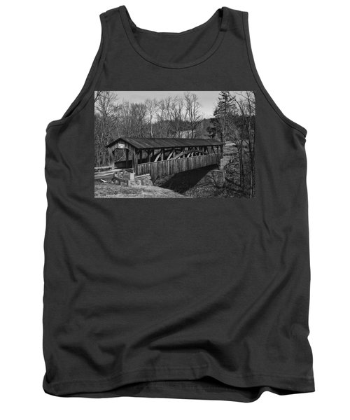 Luther's Mill Covered Bridge Black And White Tank Top