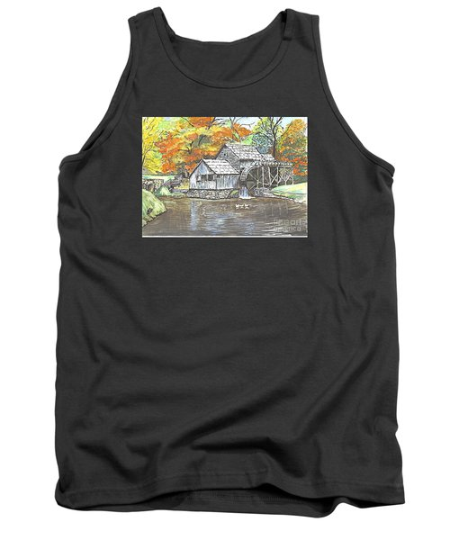 Tank Top featuring the painting Mabry Grist Mill In Virginia Usa by Carol Wisniewski