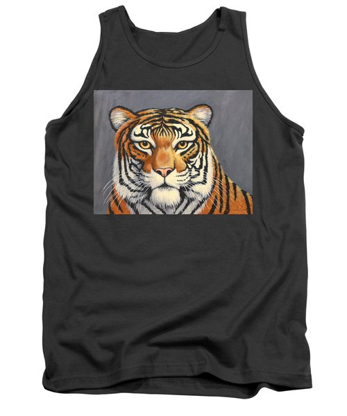 Tank Top featuring the painting Malayan Tiger Portrait by Penny Birch-Williams