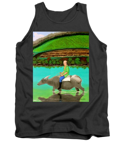 Tank Top featuring the painting Man Riding A Carabao by Cyril Maza