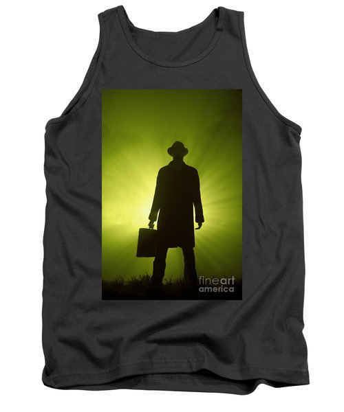 Tank Top featuring the photograph Man With Case In Green Light by Lee Avison