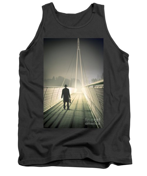 Tank Top featuring the photograph Man With Case On Bridge by Lee Avison