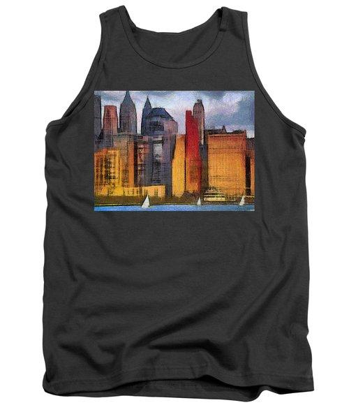 Beautiful City Manhattan Digital Painting Tank Top by Georgi Dimitrov