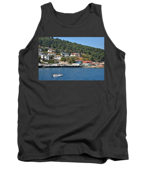 Tank Top featuring the photograph Marina Bay Scene With Boat And Houses On Hills by Imran Ahmed