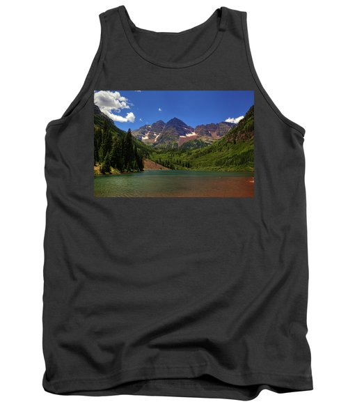 Tank Top featuring the photograph Maroon Bells From Maroon Lake by Alan Vance Ley