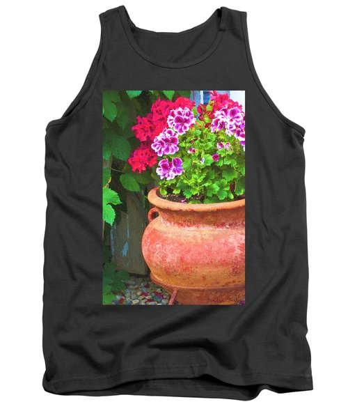 Tank Top featuring the photograph Martha Washington Geraniums In Textured Clay Pot by Sandra Foster