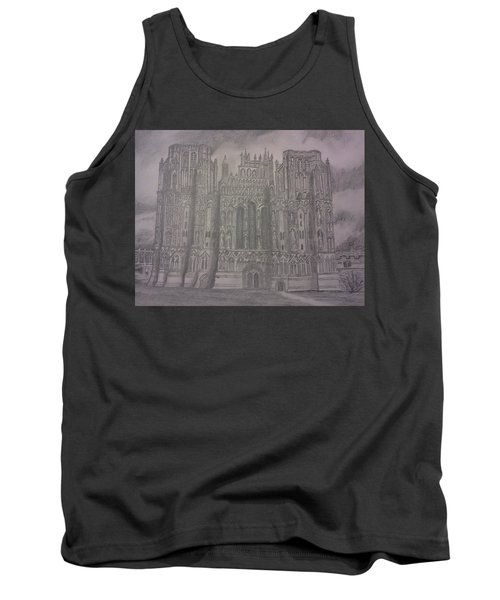 Tank Top featuring the drawing Medieval Cathedral by Christy Saunders Church