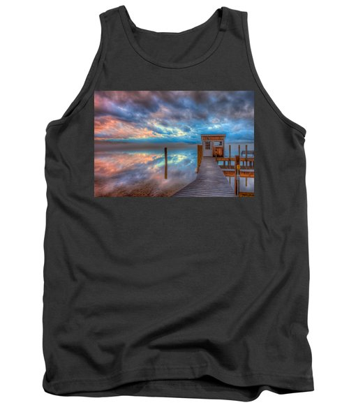 Melvin Village Marina In The Fog Tank Top by Brenda Jacobs