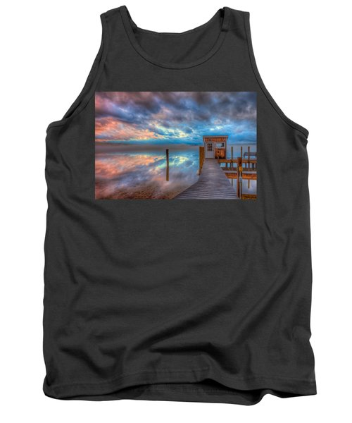 Melvin Village Marina In The Fog Tank Top