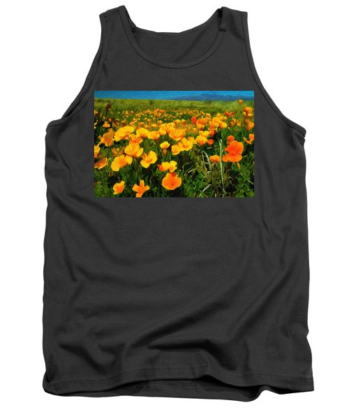 Tank Top featuring the digital art Mexican Poppies by Chuck Mountain
