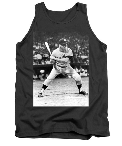 Mickey Mantle At Bat Tank Top by Underwood Archives