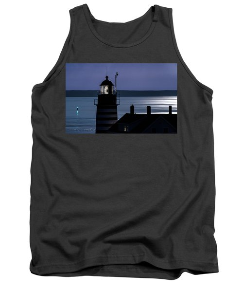 Tank Top featuring the photograph Midnight Moonlight On West Quoddy Head Lighthouse by Marty Saccone