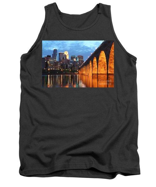 Minneapolis Skyline Photography Stone Arch Bridge Tank Top