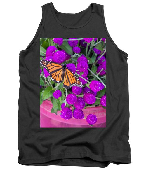 Monarch On Bachelor Buttons Tank Top