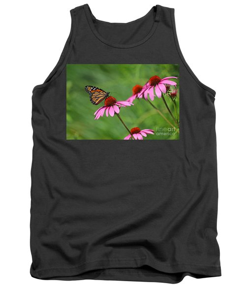 Monarch On Garden Coneflowers Tank Top