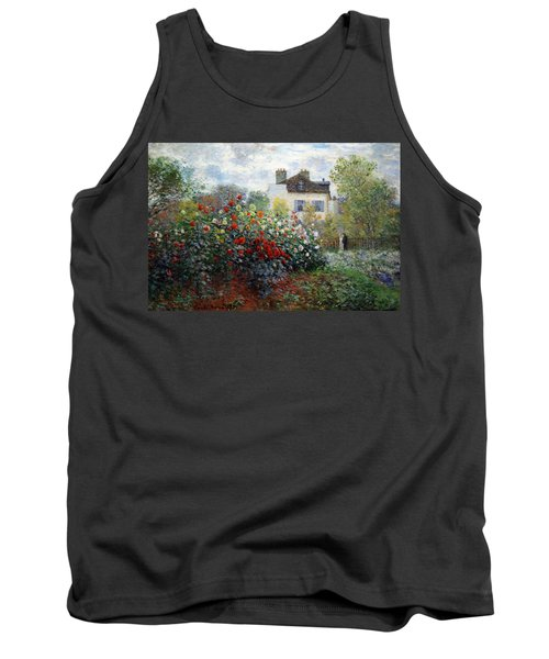 Tank Top featuring the photograph Monet's The Artist's Garden In Argenteuil  -- A Corner Of The Garden With Dahlias by Cora Wandel