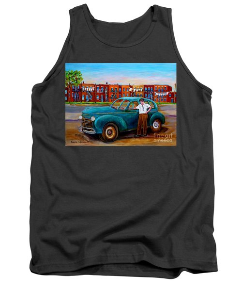 Montreal Taxi Driver 1940 Cab Vintage Car Montreal Memories Row Houses City Scenes Carole Spandau Tank Top