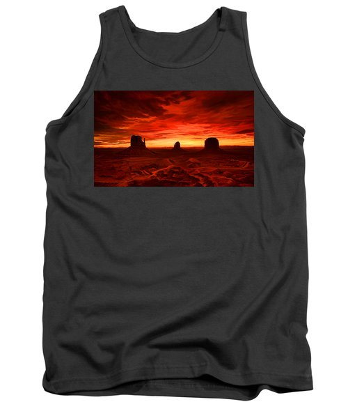 Tank Top featuring the painting Monument Valley Sunset by Tim Gilliland