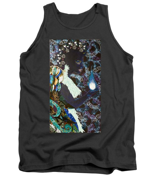 Tank Top featuring the tapestry - textile Moon Guardian - The Keeper Of The Universe by Apanaki Temitayo M