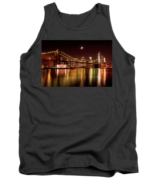 Moon Over The Brooklyn Bridge Tank Top by Mitchell R Grosky