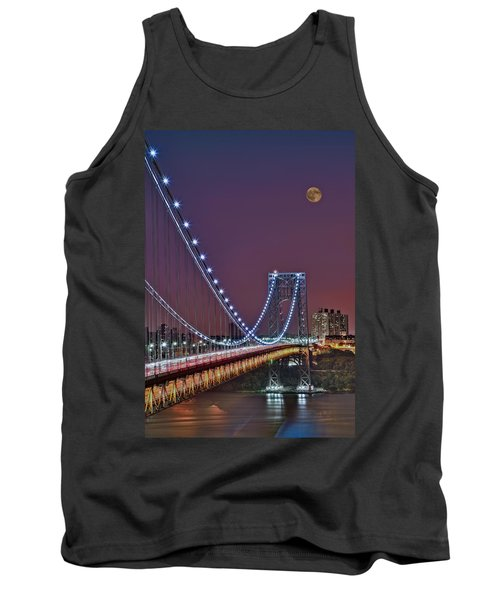 Moon Rise Over The George Washington Bridge Tank Top