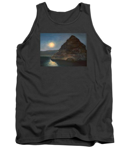 Tank Top featuring the painting Moonlight On Pyramid Lake by Donna Tucker